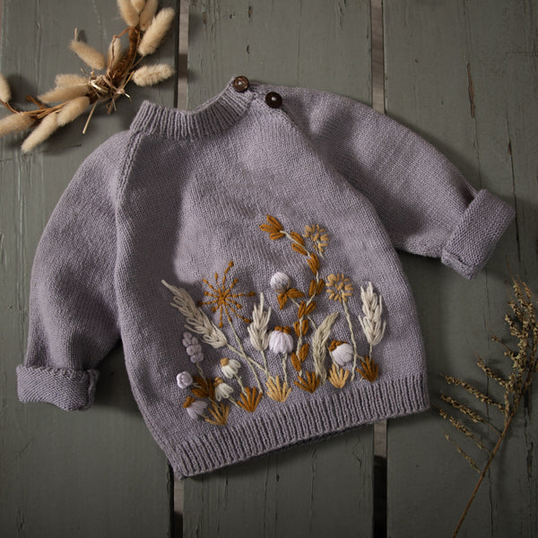 hand knitted and embroidered lavender sweater for baby and kids