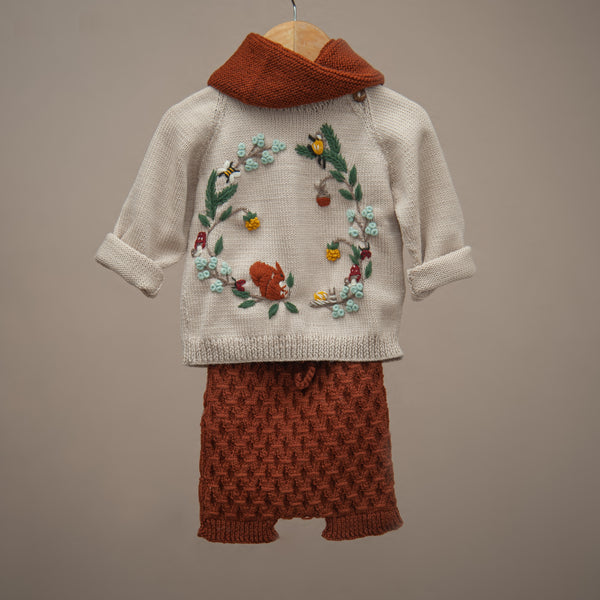 Hand knitted shorts for baby and kids paired with embroidered sweater and infinity scarf