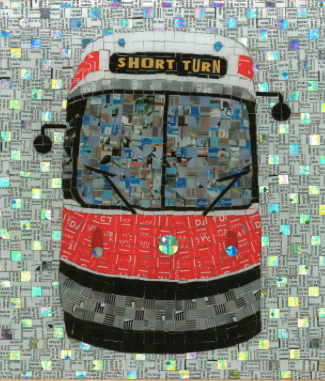 Red streetcar made with transit tokens by Nina Okens