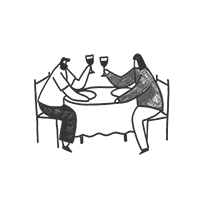 Illustration of romantic dinner