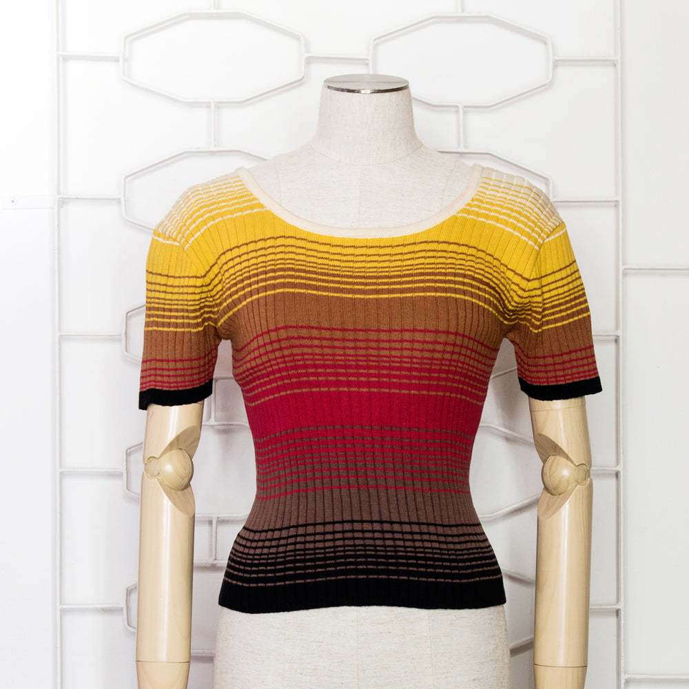 70s Stripy Gradient  Knitted Top