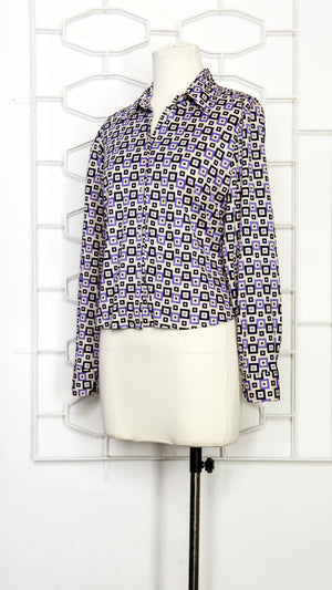 70s Retro Squares Shirt Blouse