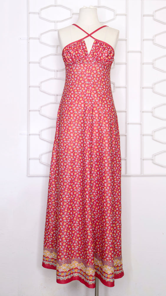 Load image into Gallery viewer, 70s Cross Front Red Ditsy  Maxi