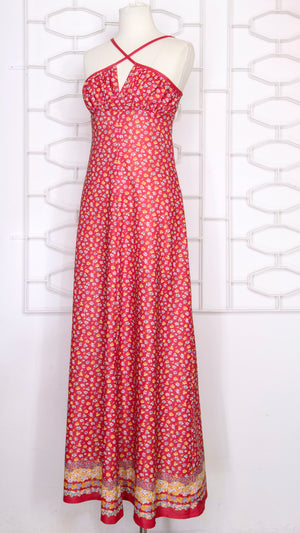 70s Cross Front Red Ditsy  Maxi