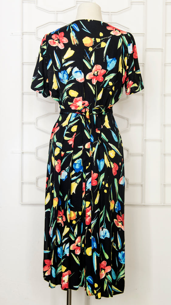 80s Black Floral Tea Dress