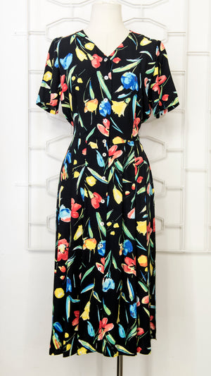 Load image into Gallery viewer, 80s Black Floral Tea Dress