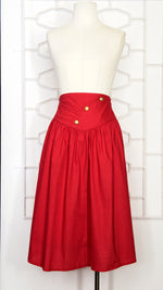 80s Red Gold Buttons Flare Skirt