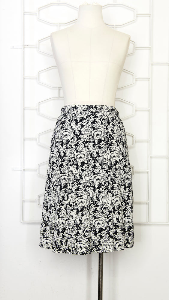 Load image into Gallery viewer, Classic Black & White Floral Skirt