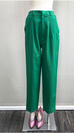 Green Classic Straight-cut High Waisted Trousers