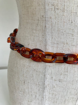 70s Faux Tortoise Shell Chain Belt