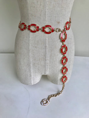 Load image into Gallery viewer, 70s Flower Enamel Chain Belt