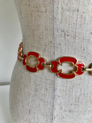 70s Flower Enamel Chain Belt