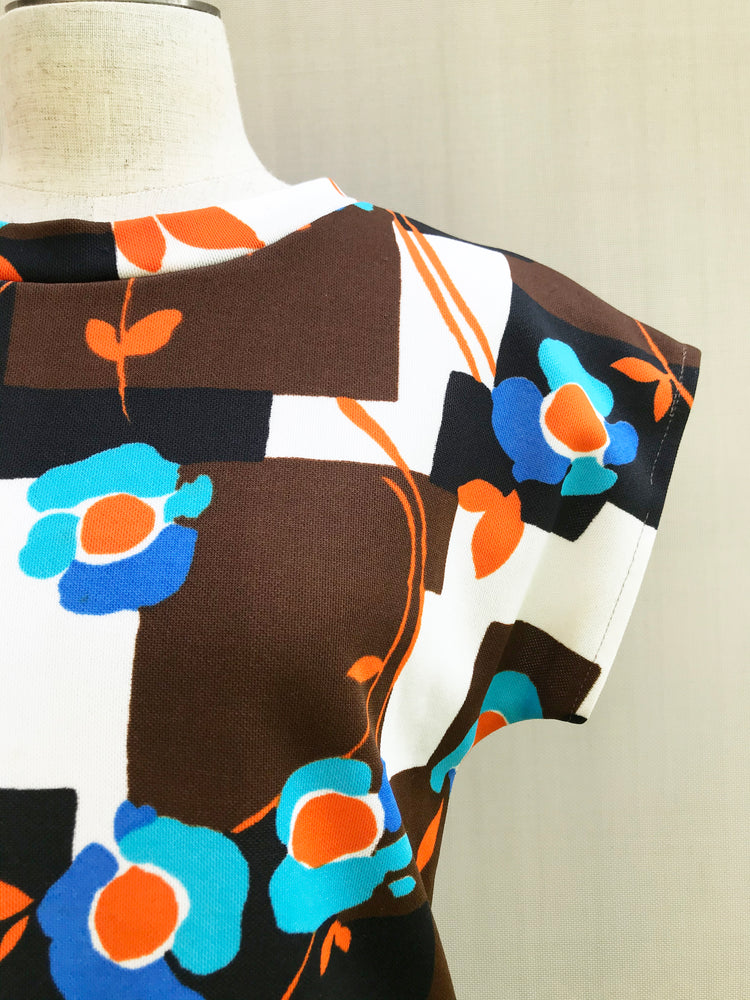 70s Floral Printed Jersey Top