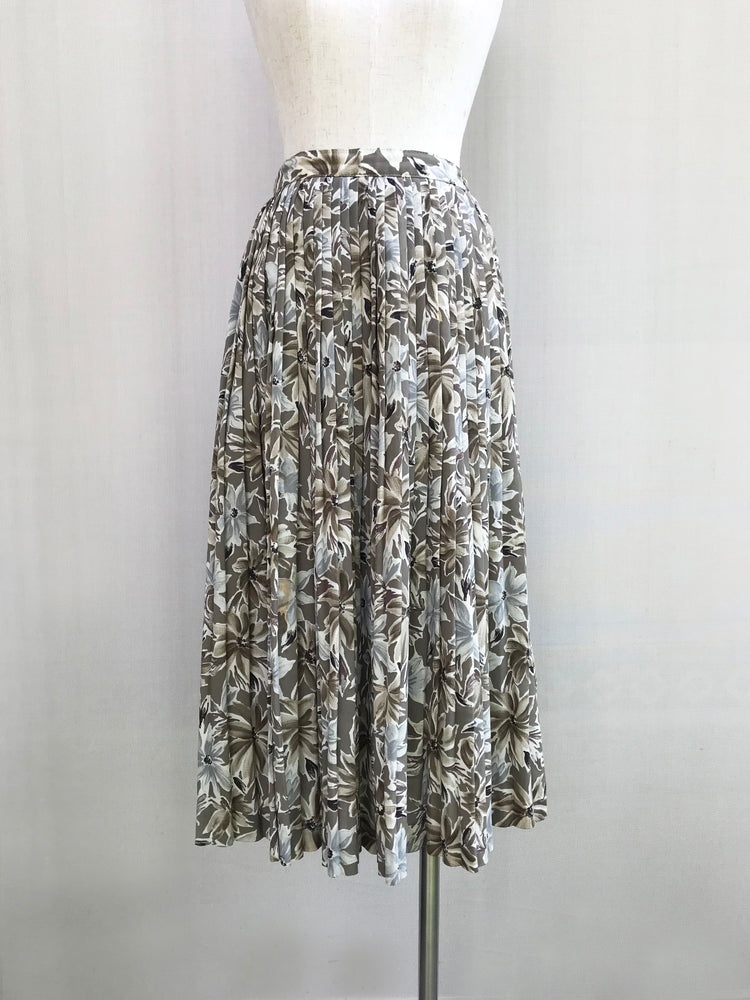 Mossy Beige Pleated Floral Skirt