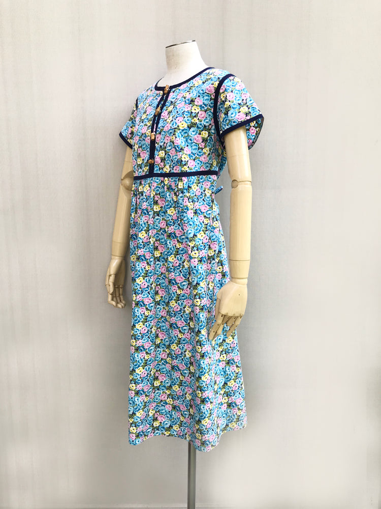 Load image into Gallery viewer, Blue Binding Floral Dress