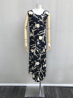 80s Black & Cream Floral Tea Dress