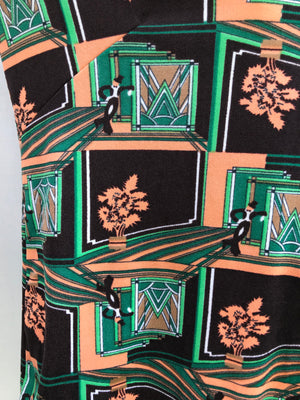 70s Dapper Gentlemen Art Deco Print Shirt