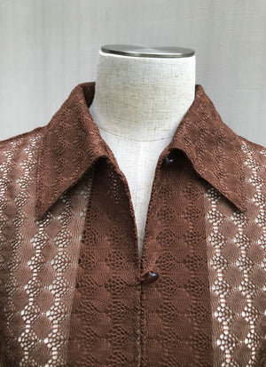 Load image into Gallery viewer, 70s Peekaboo Lace Shirt Blouse