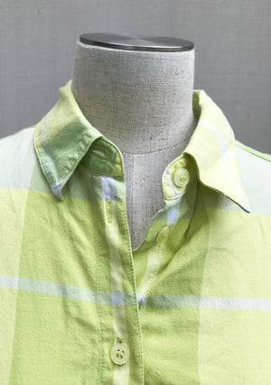 60s Lime Green Casual Plaid