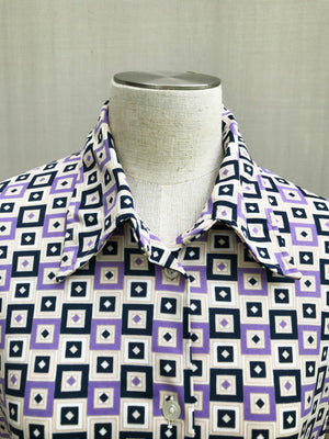 Load image into Gallery viewer, 70s Retro Squares Shirt Blouse