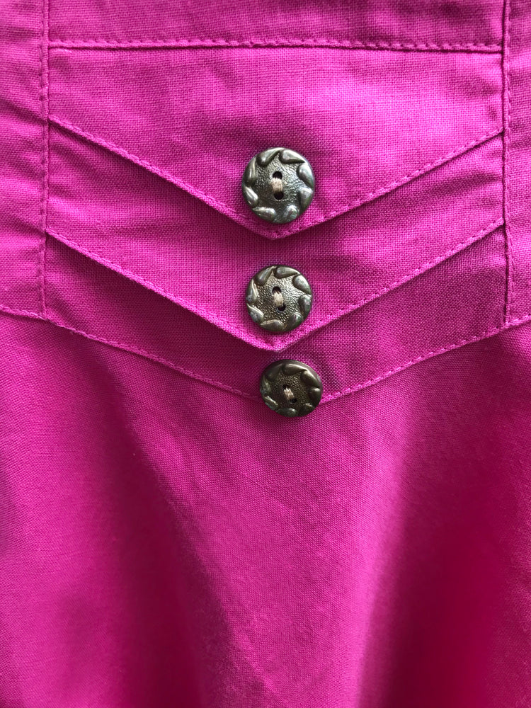 80s Bright Pink Belted Flare Skirt