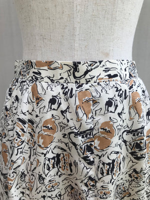 Pottery Print Mermaid-cut Skirt