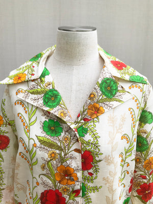 70s Garden Floral Long Sleeves Blouse