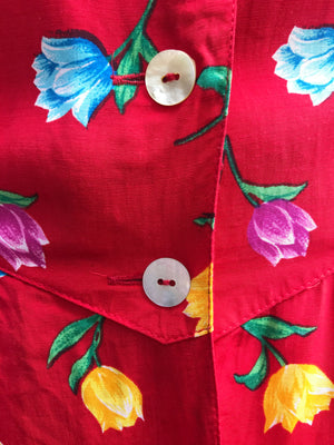 Load image into Gallery viewer, 80s Red Floral Tea Dress