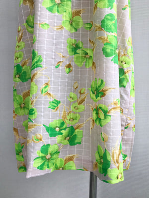 Load image into Gallery viewer, 70s Green Floral Sun Dress