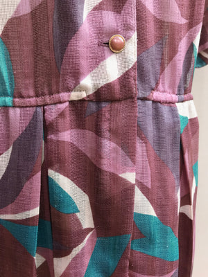 80s Purple Petal Swirl Dress