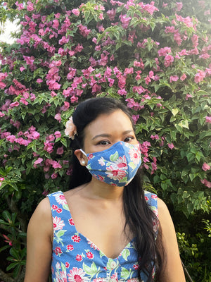 Load image into Gallery viewer, Textured Floral Blue Mask