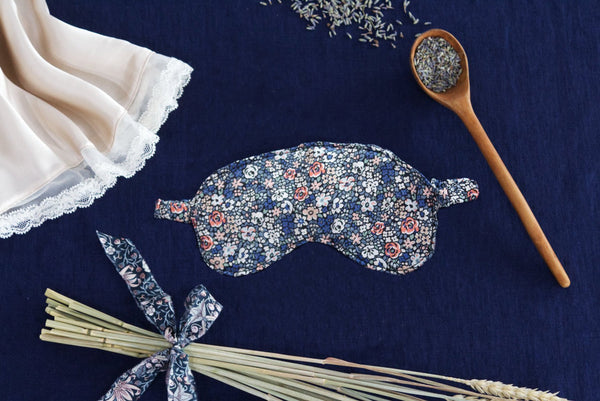 The art of switching off and relaxing by Coco & Wolf featuring Liberty fabric silk eye mask.