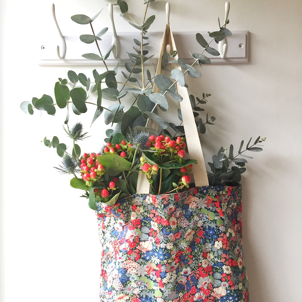 reusable liberty print shopping bag - eco parenting making a start