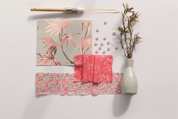 coco and wolf liberty fabric mood board capel coral Wiltshire berry pink