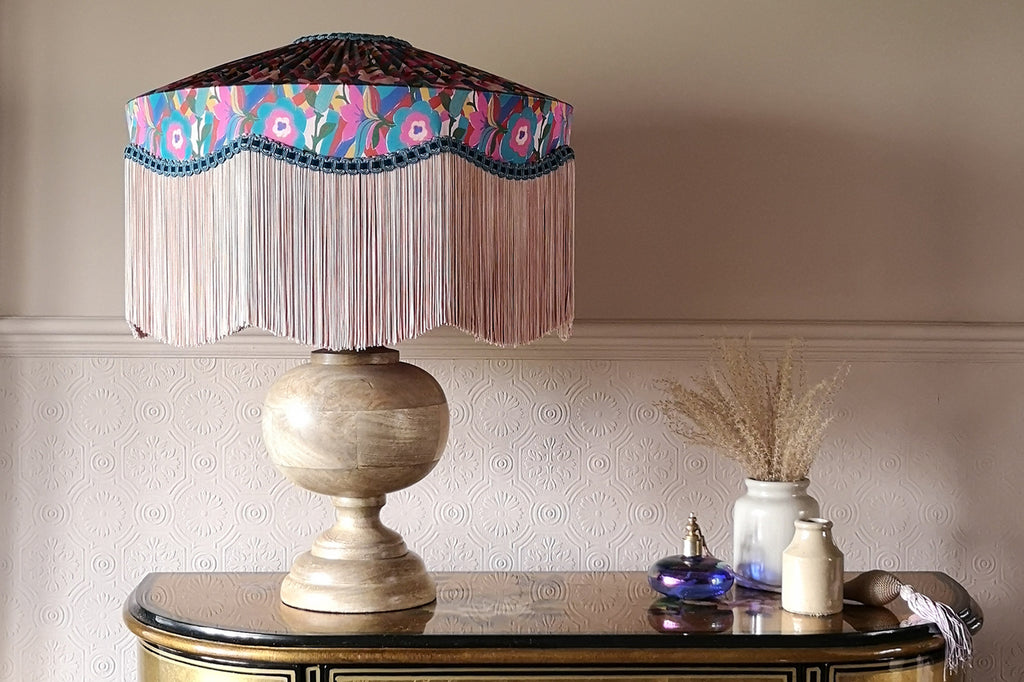 Liberty fabric lampshades by the Coco & Wolf x BeauVamp collaboration