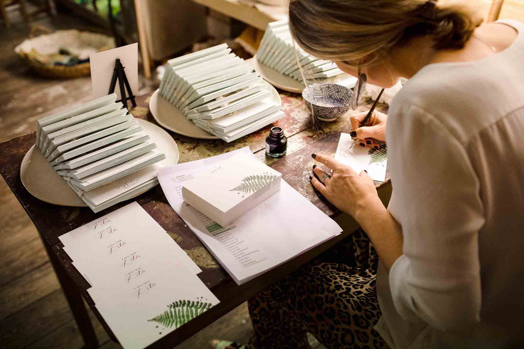 Henrietta of The Styled Writing Company completing calligraphy