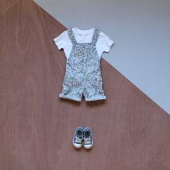 liberty print short dungarees in rumble and roar