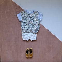 Liberty print panel front t-shirt in wiltshire berry with bloomers