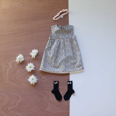 Liberty print abi dress in katie and millie with mortimer lucy hairband and socks