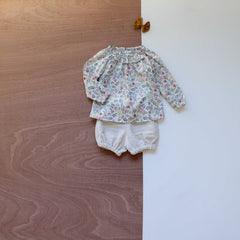 liberty print ruffle collar kate blouse in edenhman with oat linen bloomers