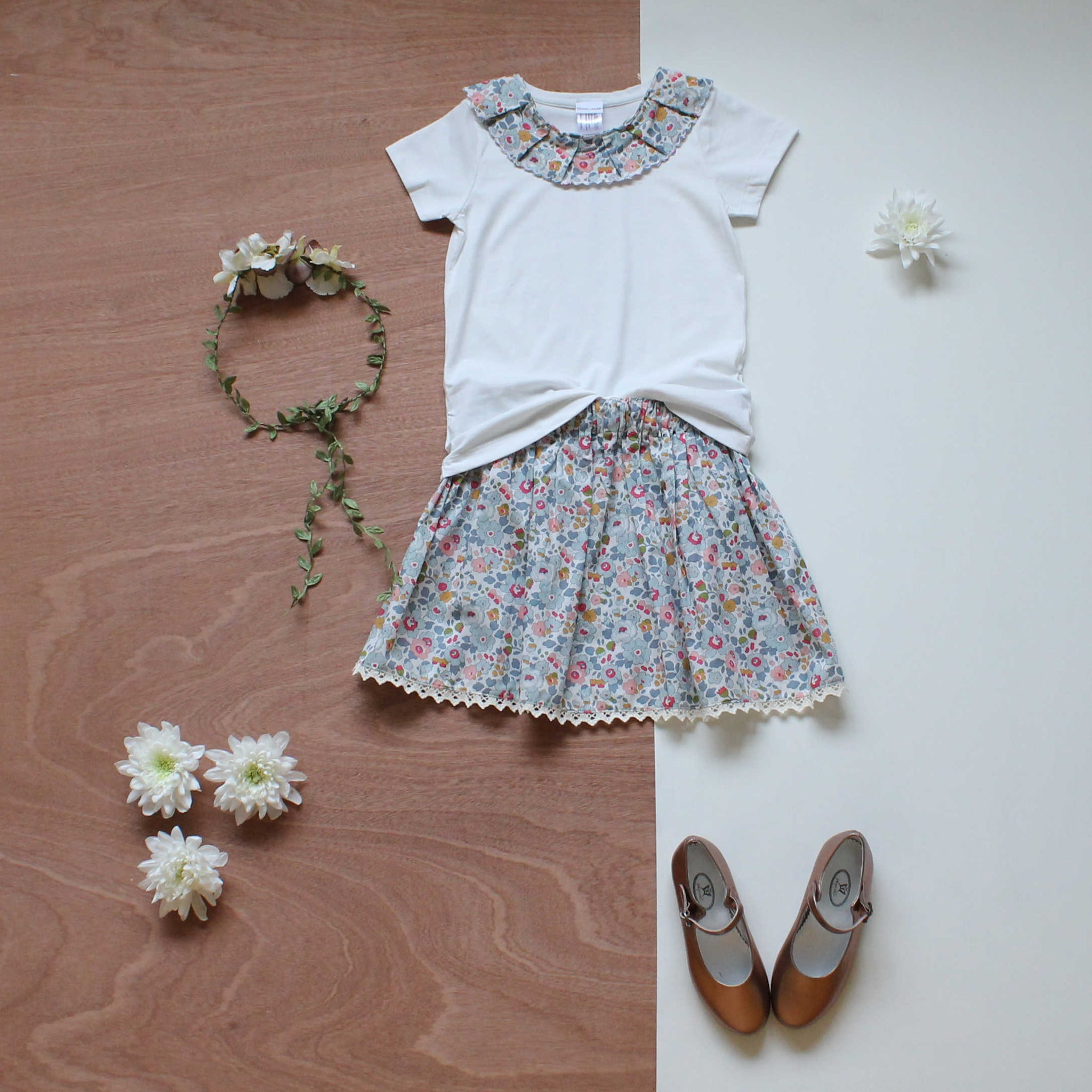 Liberty print ottilie collar t and skirt in betsy grey