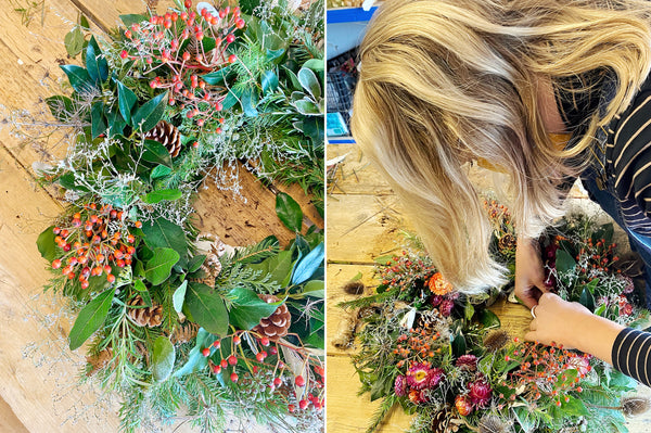Adding decorative details to your sustainable wreath