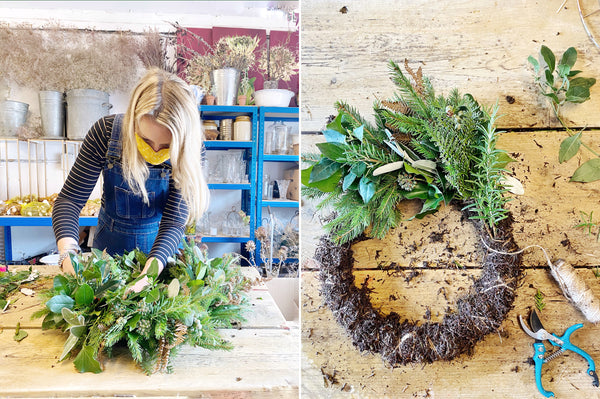 Foraged foliage wreath with Coco & Wolf