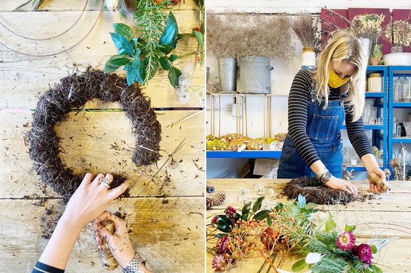 Sustainable wreath made with Coco & Wolf