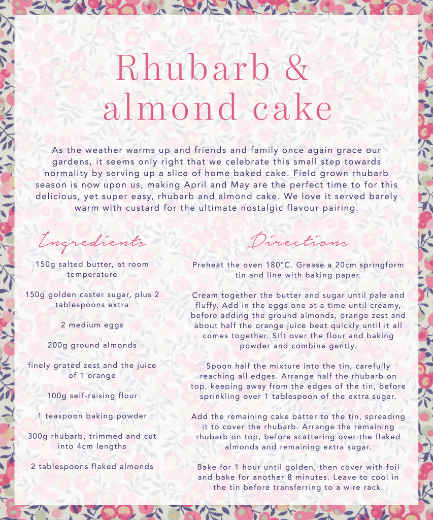 Seasonal recipes by Coco & Wolf, this month featuring our Rhubarb & Almond cake