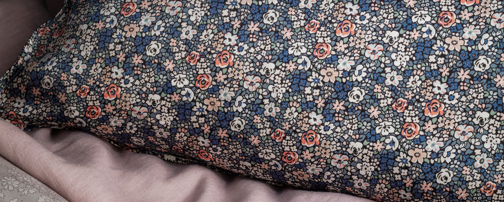 silk pillowcases and eye mask made with liberty fabric
