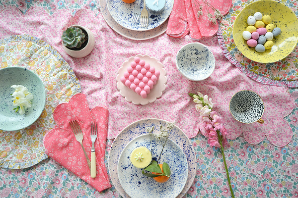 Coco & Wolf Easter table featuring Liberty fabric table linen.