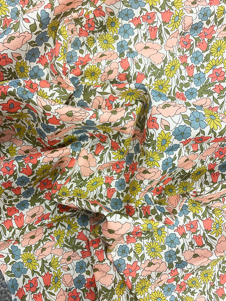 Liberty print exclusive fabrics for Coco & Wolf, Poppy & Daisy Coral