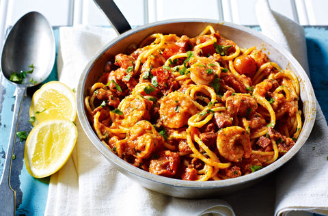 Spaghetti, prawn, tomato and lemon recipe