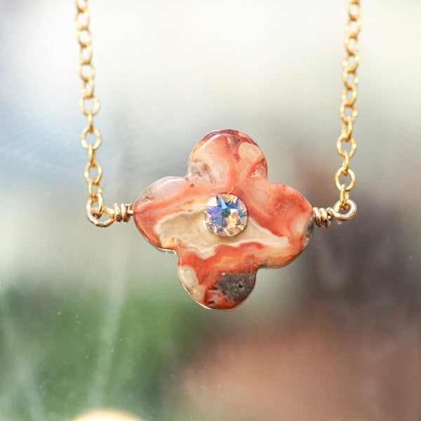 """Crazy Agate Flower"" ネックレス"